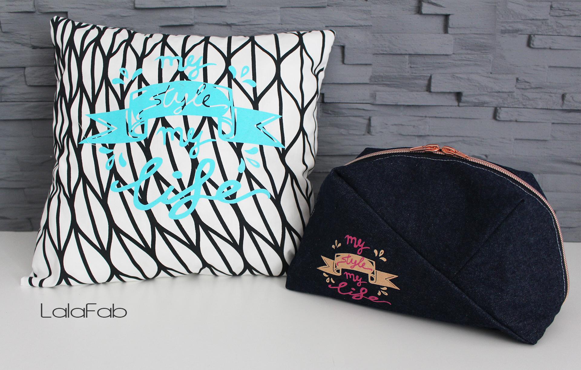 """Plott """"My style my life"""" –  Freebie Kosmetiktasche Geo-Bag"""