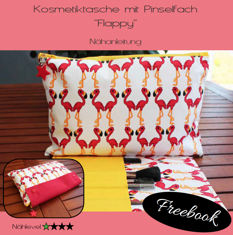 Freebook Tasche Flappy – für Kosmetik, Kindle, Mal-/Bastel-/Strick-/ Häkelutensilien